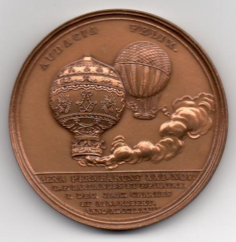 Restrike of Medal - Audacia Felix. Commemorating the invention of the air balloon in 1783, struck by order of King Louis XVI.