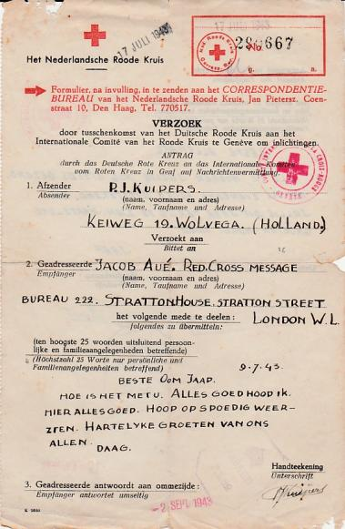Red Cross Letter from the Netherlands to Great Britain July 17th 1943.
