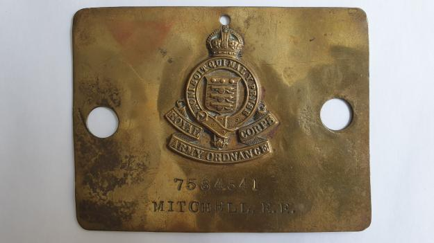 Royal Army Ordnance Corps Brass Bed / Duty Foot Plate